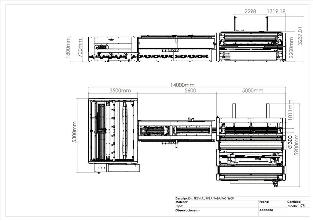 Máquina para fabricar sábanas - Auriga 3600 - Planos
