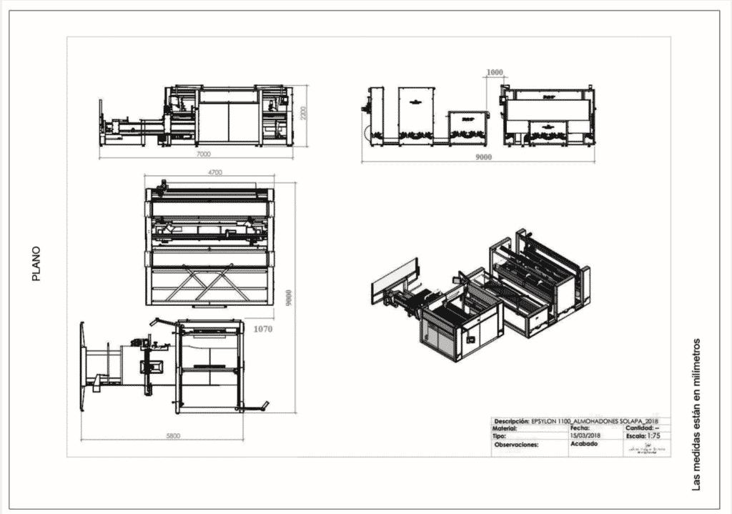 Máquina para fabricar almohadas - Epsylon V - Planos