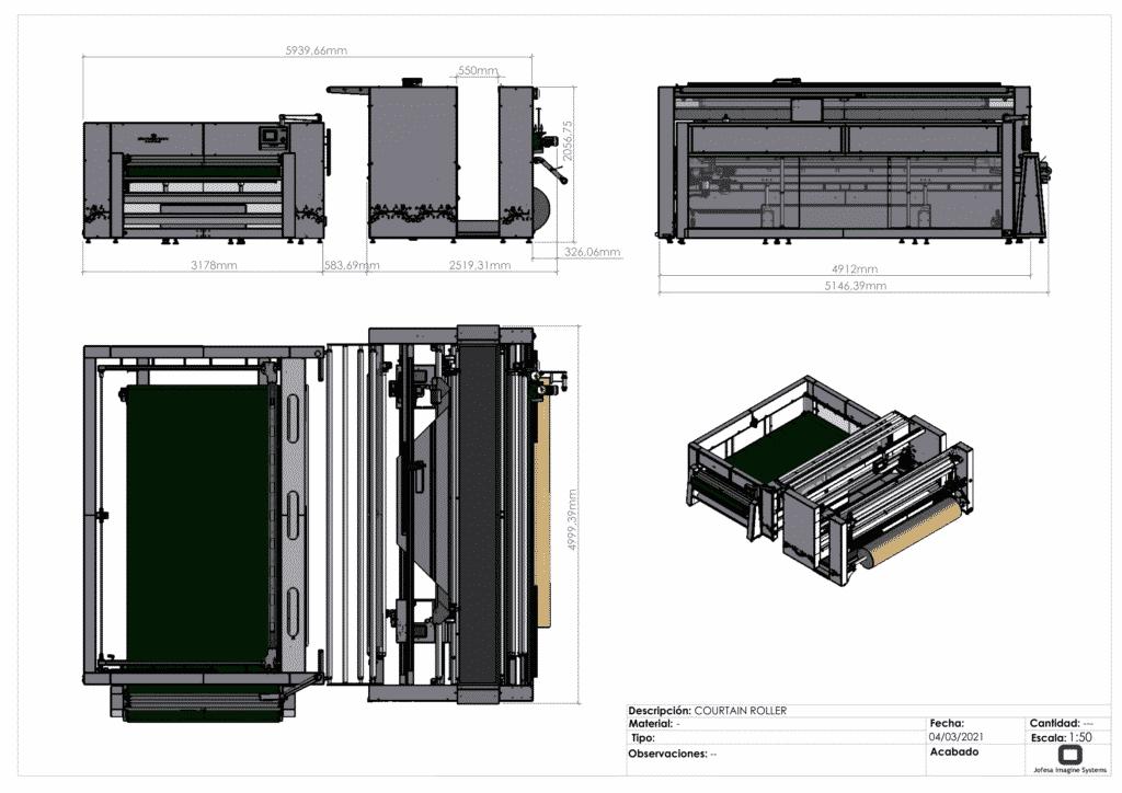 Máquina para fabricar cortinas - Courtain Roller - Planos