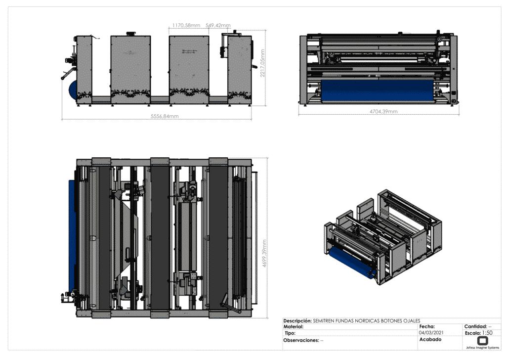 Máquina para fabricar fundas nórdicas - Semitren - Planos