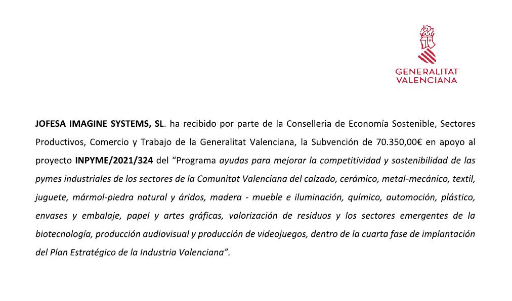 Subvencion INPYME 2021 324 - Generalitat Valenciana - Blog